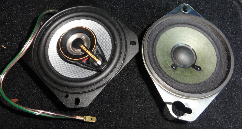 Comparison between the original and the new speakers. You may need to enlarge the diameter of the hole on the speaker for the OEM screw.