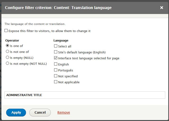 Configuring a filter for the language